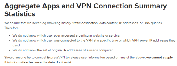 ExpressVPN Aggregate Apps and VPN Connection Summary