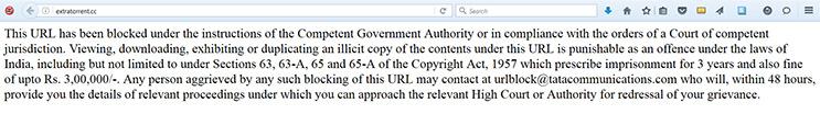 India Blocked URL warning