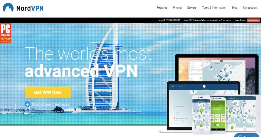 Nord VPN website