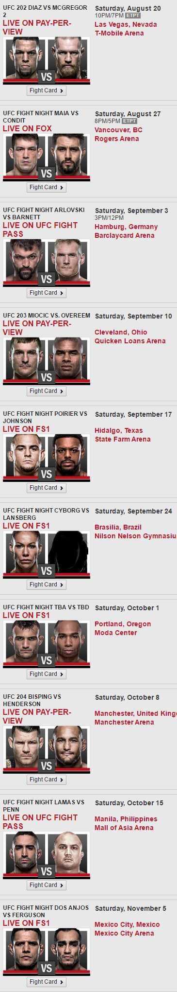 UFC Fight Schedule