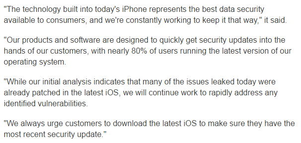 Apple's statement