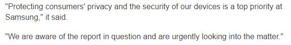 Samsung's Statement