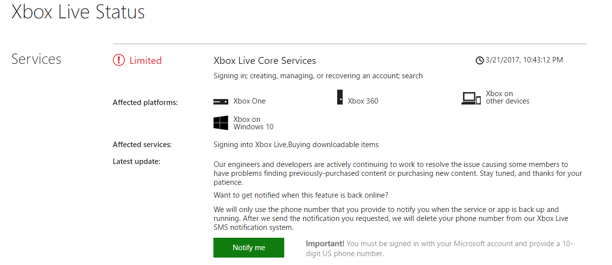 Xbox Core Services Down