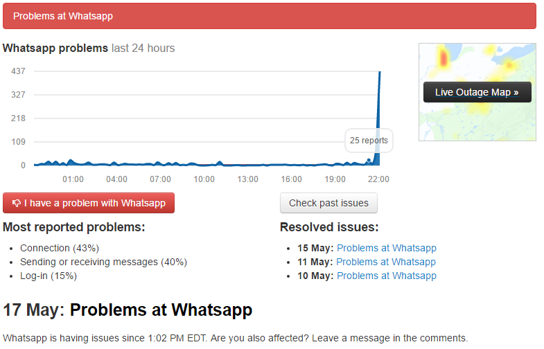 Problem at Whatsapp