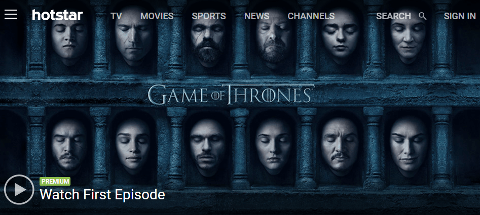 Game of thrones all seasons on Hotstar