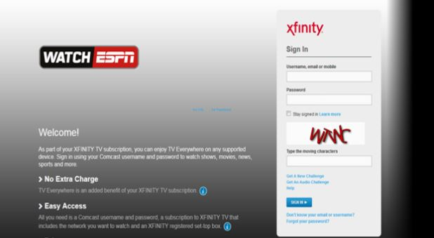 ESPN Partnered Website login