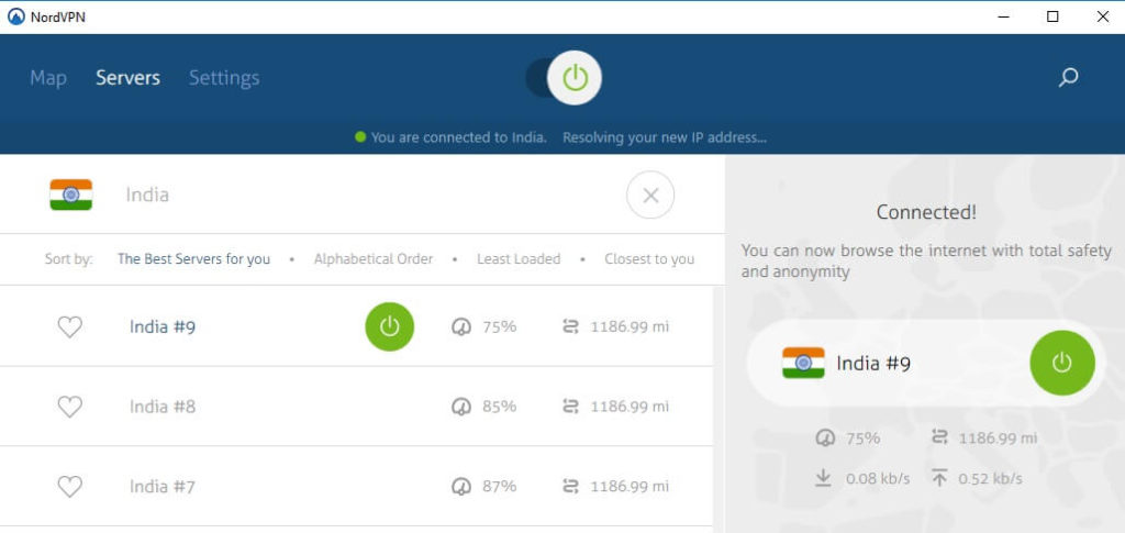 NordVPN Indian server connected