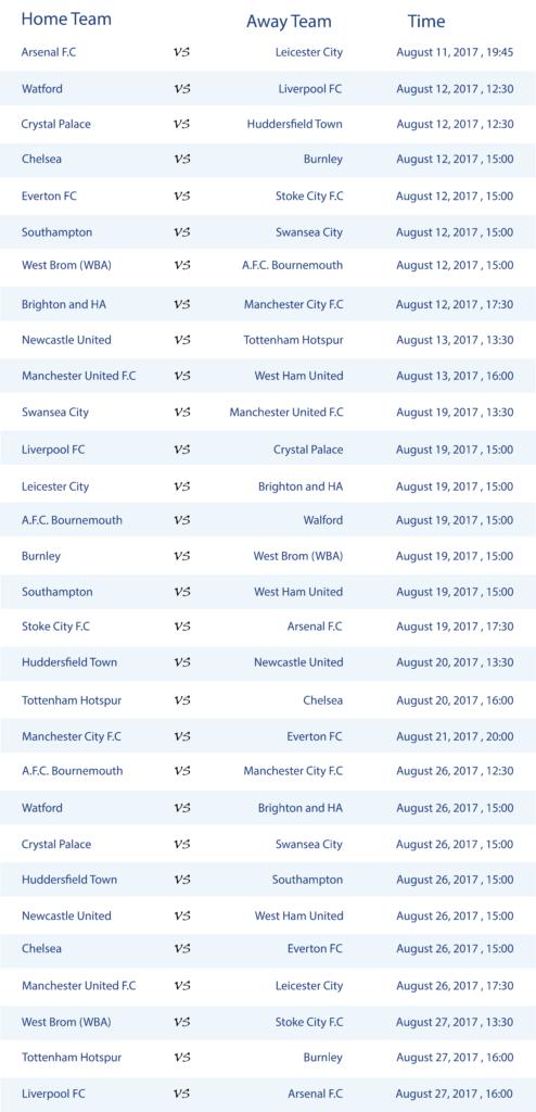 Premier League Schedule