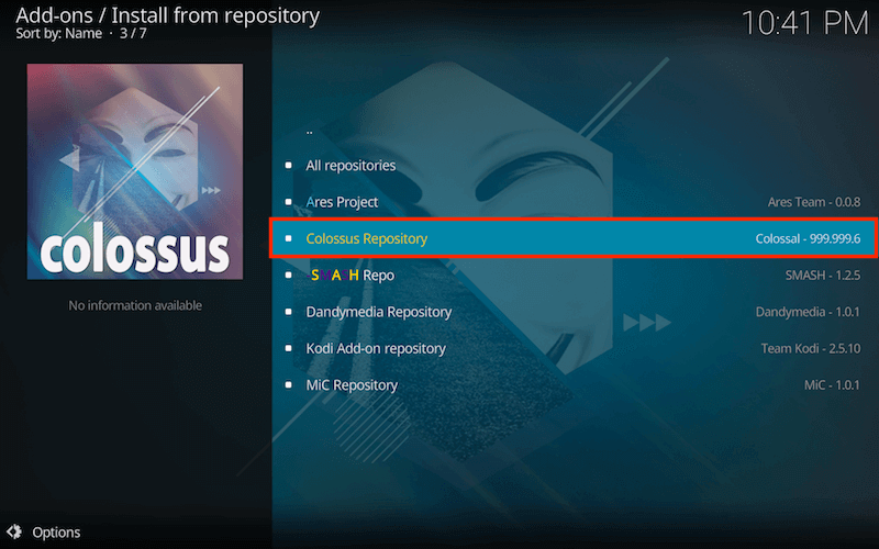 exodus for kodi colossus repository
