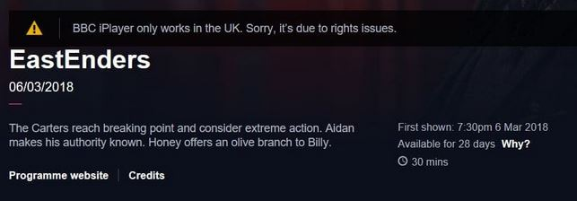 BBC iPlayer Error