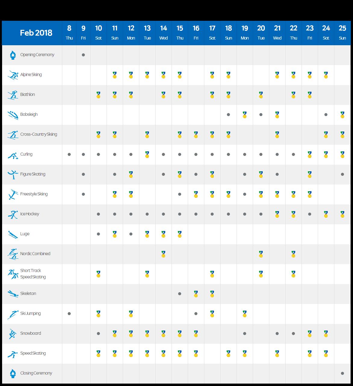 Winter Olympics Sports Calendar