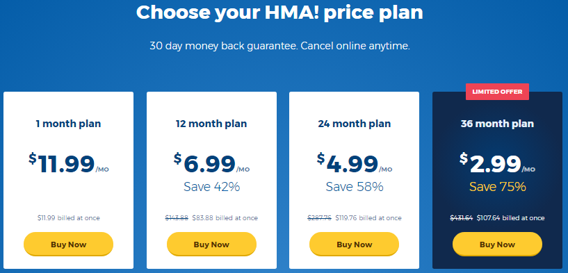 HideMyAss VPN Pricing Plans