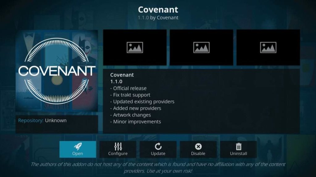 Covenant kodi movie addon