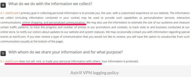 Astrill VPN Log Policy