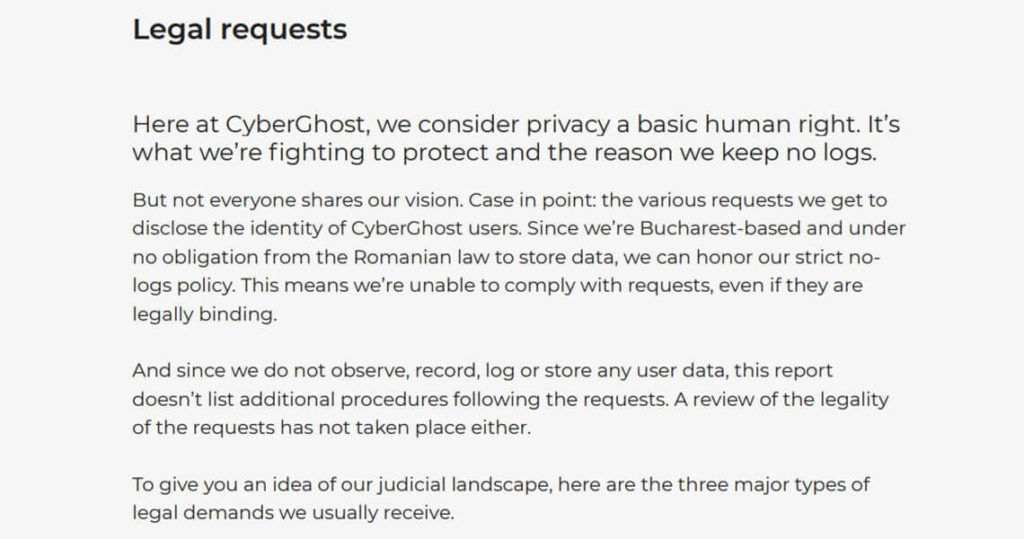 CyberGhost Legal Requests