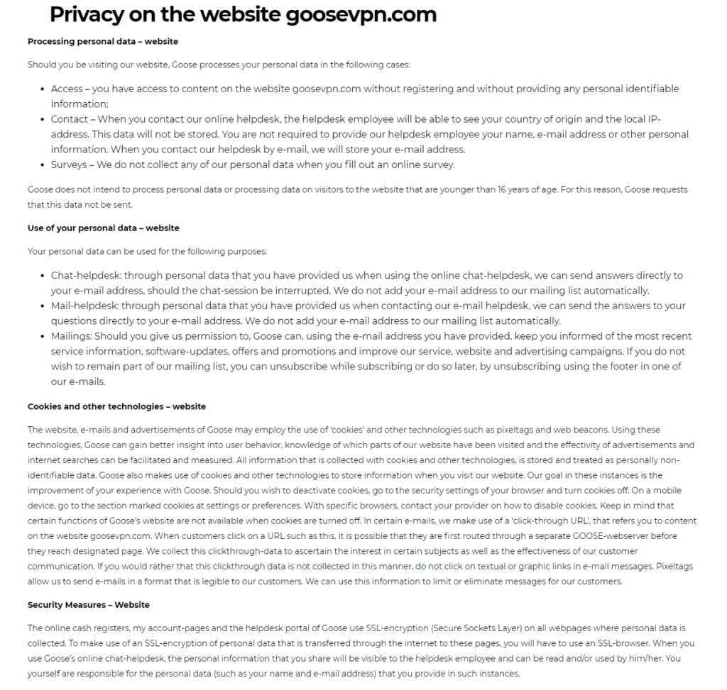 Goose VPN Privacy Policy