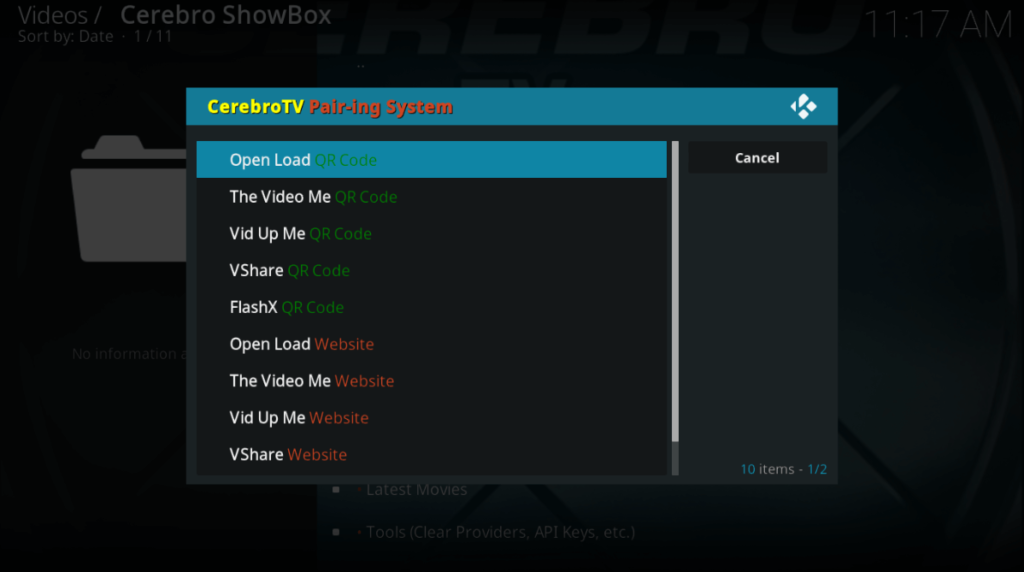 Cerebro ShowBox for Kodi Pairing