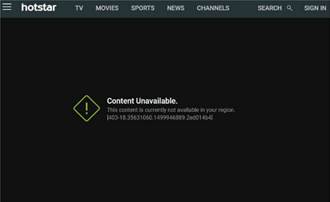 Hotstar not currently available in your region