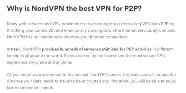 NordVPN P2P Policy