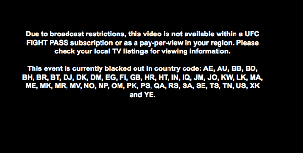 UFC Not Available in your Region