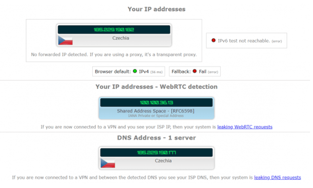 Avast Secureline VPN DNS, IP and WebRTC Leaks Test